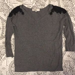 Loft 3/4 sleeve sweater with lace